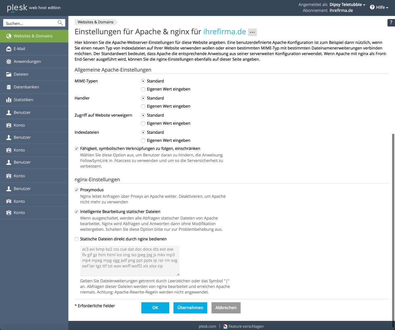 Configurações Apache nginx