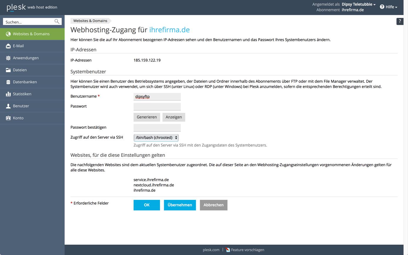 plesk_webhosting_access_ssh