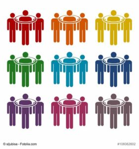 People standing, targeted consumer icons set
