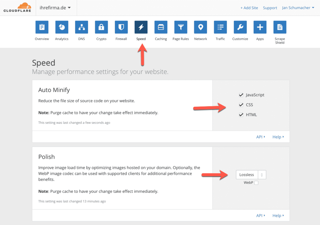 cloudflare_speed_settings