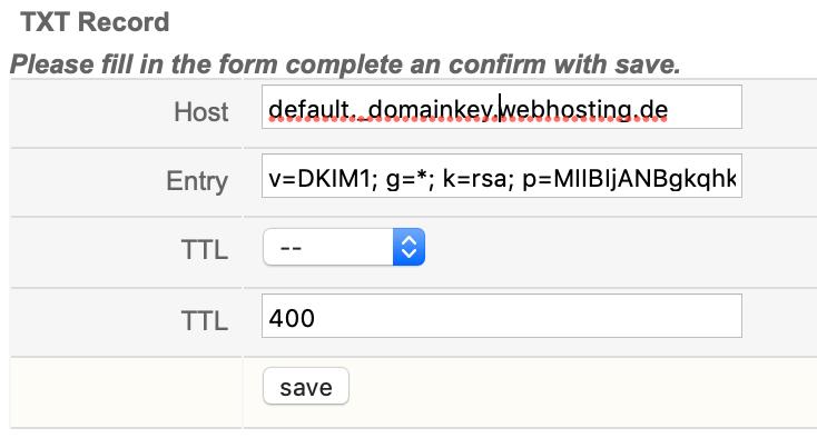 DKIM DNS Eintrag setzen