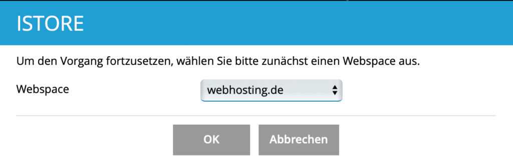 Plesk iStore Domain auswählen