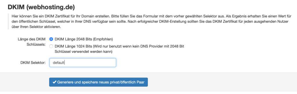 IStore Spamschutzgateway DKIM generieren